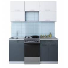 """Кухня """"Мила Глосс 50-16"""" 1,1 м  (асфальт-белый)"""