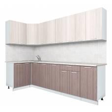 """Кухня угловая """"Мила-Лайт"""" 1,2х2,8 м (ясень темный-ясень светлый)"""