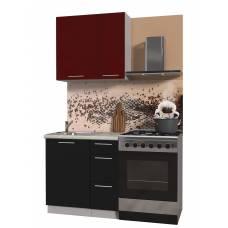 "Кухня ""Мила Пластик 0,8 А"" (черный-бордо)"