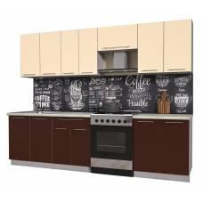 """Кухня """"Мила Пластик 2,7 А"""" 2,1 м (шоколад-ваниль)"""