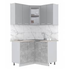 """Кухня угловая """"Мила"""" 1,2х1,2 м (бетон - серебро)"""