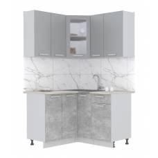"""Кухня угловая """"Мила"""" 1,2х1,3 м (бетон - серебро)"""