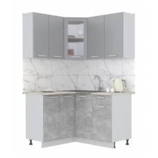 """Кухня угловая """"Мила"""" 1,2х1,4 м (бетон - серебро)"""
