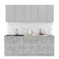 """Кухня """"Мила-Лайт"""" 2,1 м ЛДСП (бетон - серебро)"""