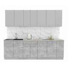 """Кухня """"Мила-Лайт"""" 2,5 м (бетон - серебро)"""