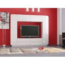 """Мебель для гостиной """"Лаванда-2"""" 2,4 м (белый-белый глянец)"""