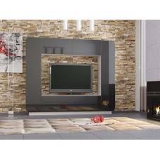 """Мебель для гостиной """"Лаванда-2"""" 2,4 м (белый-черный глянец)"""