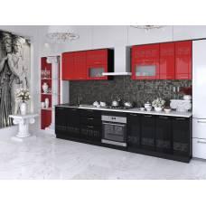 "Кухня ""Адель"" 1,8 м МДФ Эллада (красный-черный глянец)"